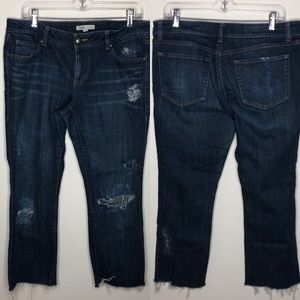 CAbi Jeans - cabi distressed cropped blue denim jeans 967 Sz 12